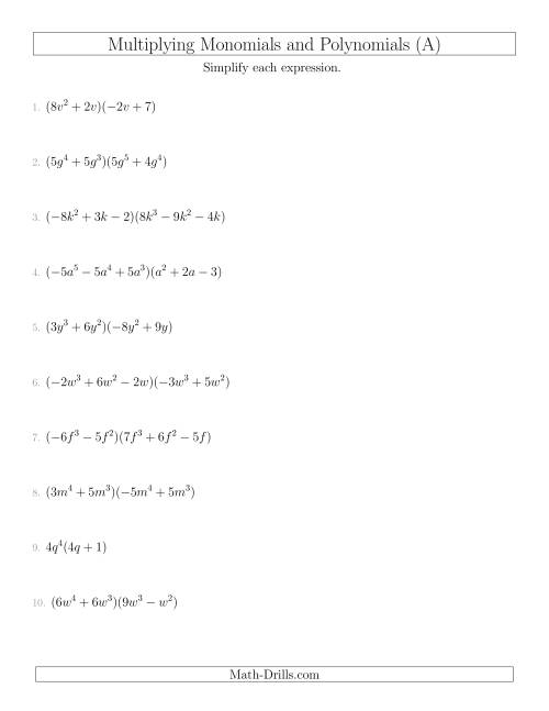 hight resolution of Multiplying Monomials and Polynomials with Two Factors Mixed Questions (A)