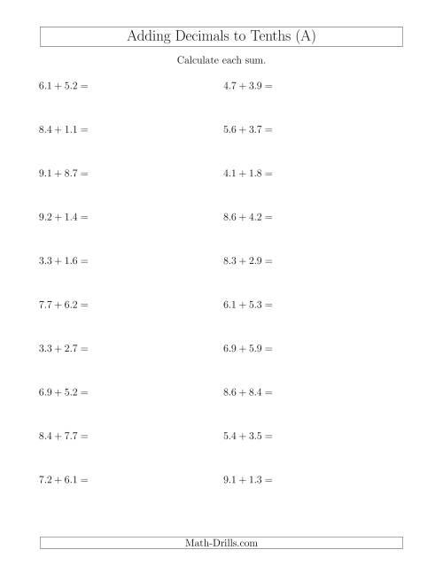 Adding Decimals to Tenths Horizontally (A)