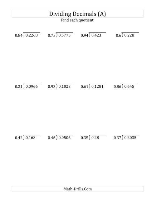 Divid G Decim Ls By 2 Digit Hundredths