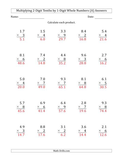 hight resolution of Multiplying 2-Digit Tenths by 1-Digit Whole Numbers (A)