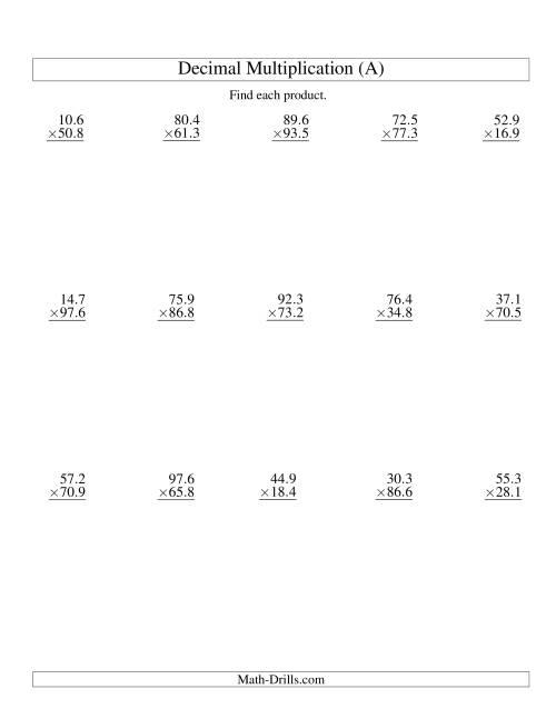Vertic L Decim L Multiplic Ti R Nge 10 1 To 99 9