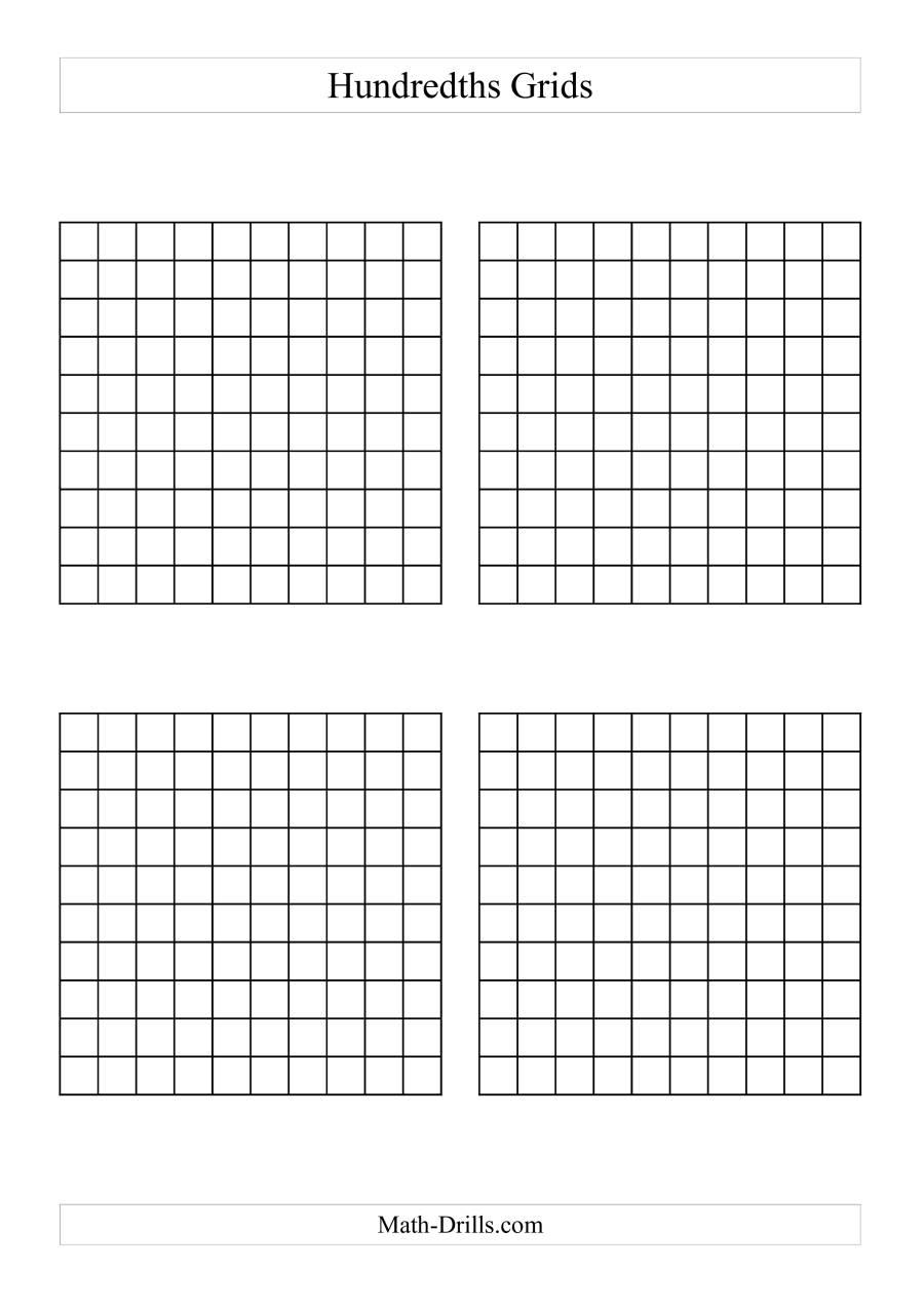 4 x Hundredths Grids (A)
