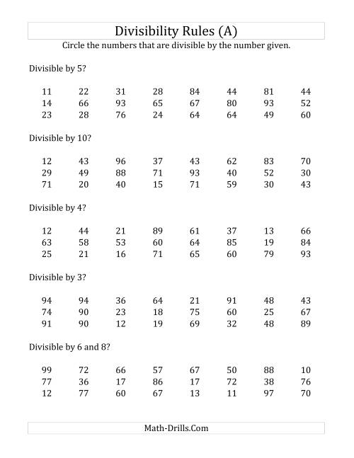 34 Divisibility Rules Practice Worksheet - Worksheet Project List [ 1165 x 900 Pixel ]