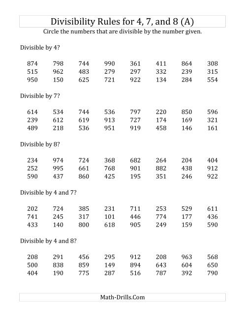 Divisibility Rules 4 7 Nd 8 3 Digit Numbers
