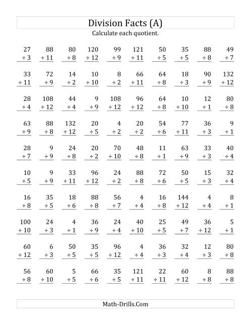 small resolution of Vertically arranged division facts to 144 (A)