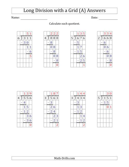 hight resolution of 3-Digit by 1-Digit Long Division with Remainders with Grid Assistance and  Prompts (A)