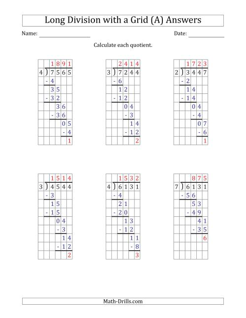 4-Digit by 1-Digit Long Division with Remainders with Grid Assistance (A) [ 1165 x 900 Pixel ]