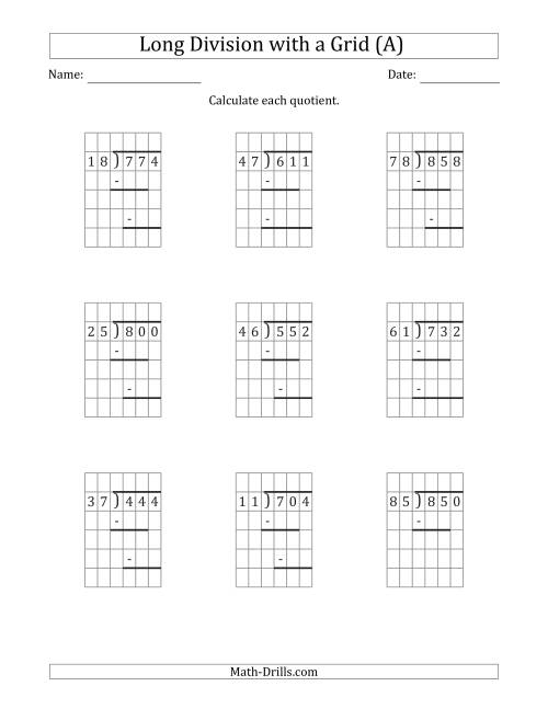 hight resolution of 3-Digit by 2-Digit Long Division with Grid Assistance and Prompts and NO  Remainders (A)