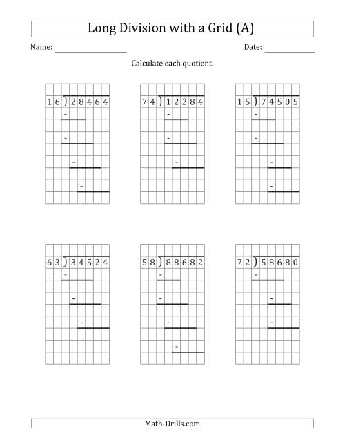 hight resolution of 5-Digit by 2-Digit Long Division with Grid Assistance and Prompts and NO  Remainders (A)
