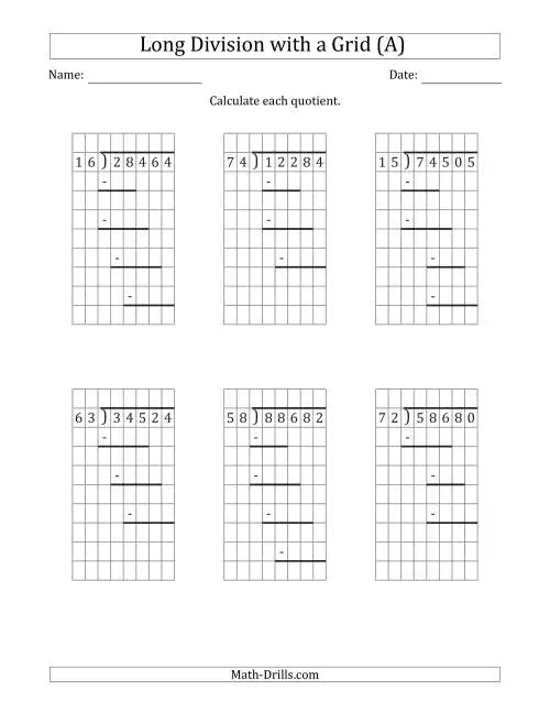 small resolution of 5-Digit by 2-Digit Long Division with Grid Assistance and Prompts and NO  Remainders (A)