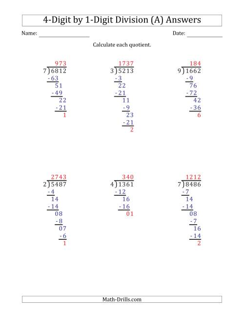hight resolution of 4-Digit by 1-Digit Long Division with Remainders and Steps Shown on Answer  Key (A)