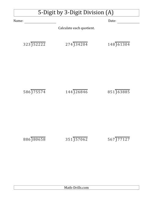 hight resolution of 5-Digit by 3-Digit Long Division with Remainders and Steps Shown on Answer  Key (A)