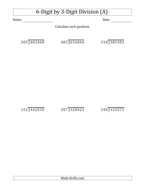 hight resolution of 6-Digit by 3-Digit Long Division with Remainders and Steps Shown on Answer  Key (A)