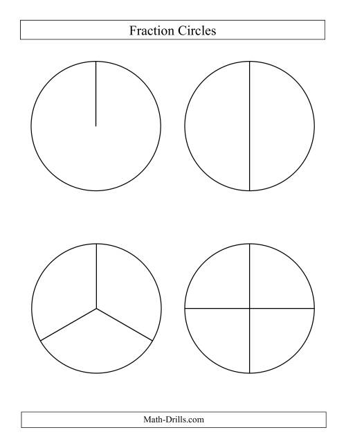 Large Black and White Fraction Circles no Labels (B)