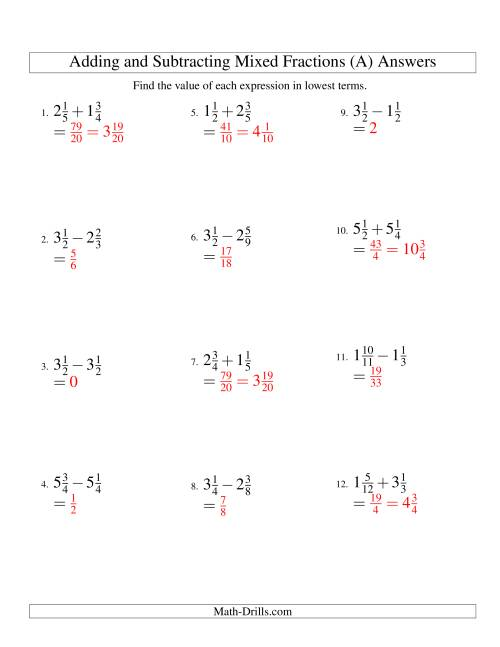 hight resolution of Adding and Subtracting Mixed Fractions (A)