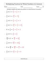 Worksheet Multiplying Whole Numbers And Fractions