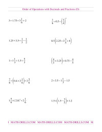 Order of Operations with Decimals and Fractions Mixed (D