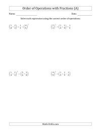 Order Of Operations With Fractions Four Steps All
