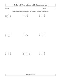 Order Of Operations With Fractions Two Steps All