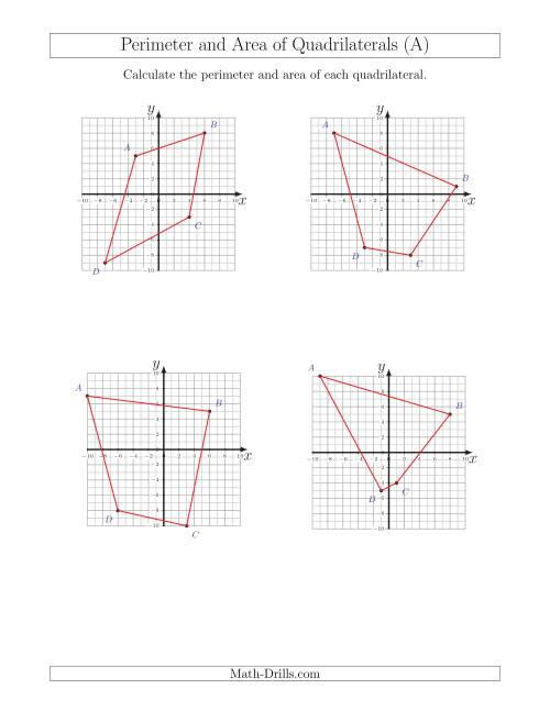 Perimeter and Area of Quadrilaterals on Coordinate Planes (A)
