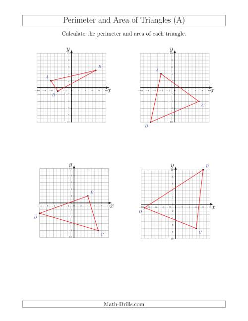 Perimeter and Area of Triangles on Coordinate Planes (A)