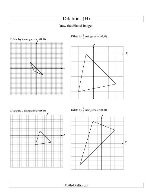 Dilations Using Center (0, 0) (H)