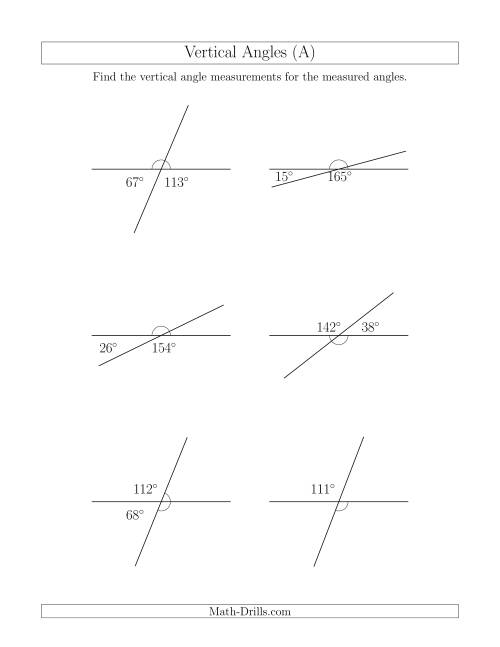 medium resolution of Vertical Angles Worksheet Pdf - Promotiontablecovers