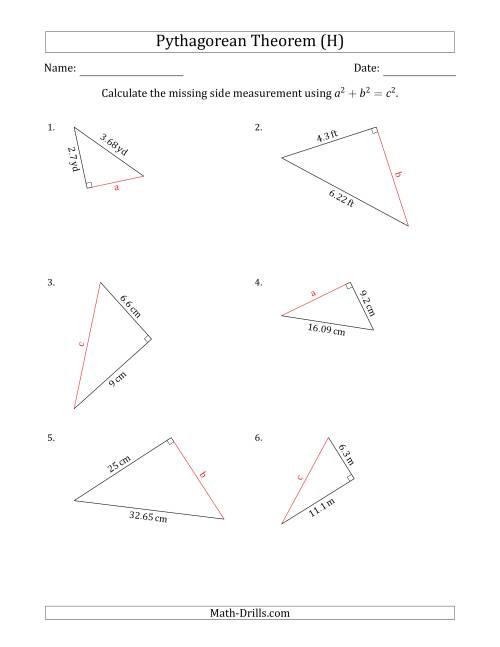 Calculate a Side Measurement Using Pythagorean Theorem (H)