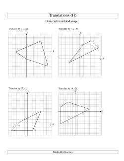 Translation of 4 Vertices up to 6 Units (H) Geometry Worksheet