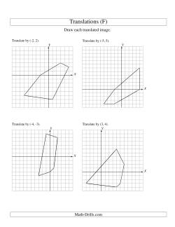 Translation of 5 Vertices up to 6 Units (F) Geometry Worksheet