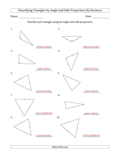 small resolution of Classifying Triangles by Angle and Side Properties (Marks Included on  Question Page) (A)
