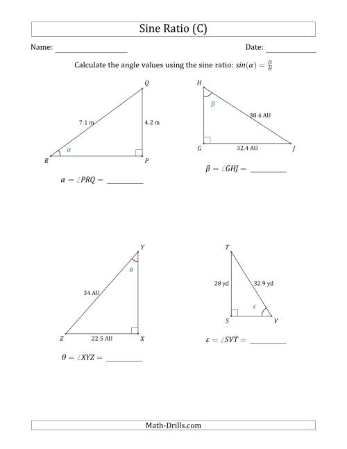 Calculating Angle Values Using the Sine Ratio (C)