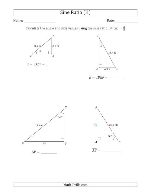 Calculating Angle and Side Values Using the Sine Ratio (H)