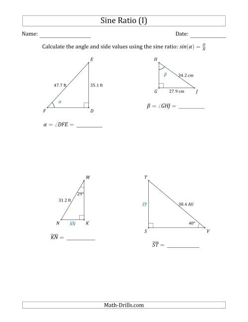 Calculating Angle and Side Values Using the Sine Ratio (I)