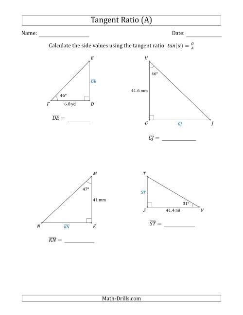 Calculating Side Values Using the Tangent Ratio (A)