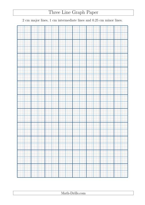 Three Line Graph Paper with 2 cm Major Lines. 1 cm Intermediate Lines and 0.25 cm Minor Lines (A4 Size) (A)