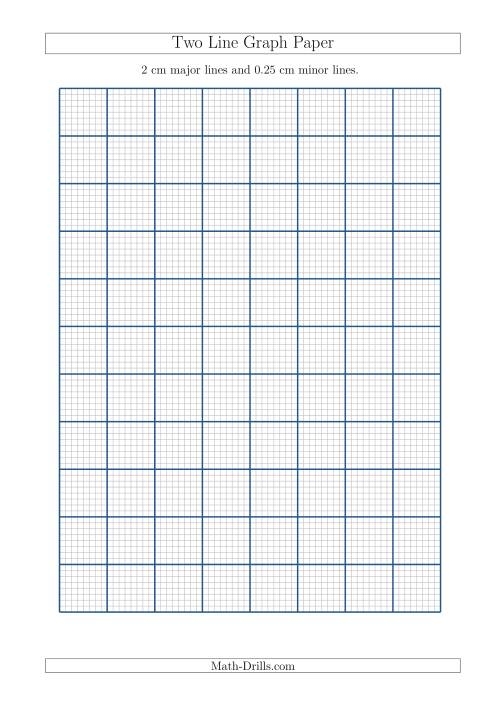 Two Line Graph Paper with 2 cm Major Lines and 0.25 cm Minor Lines (A4 Size) (A)