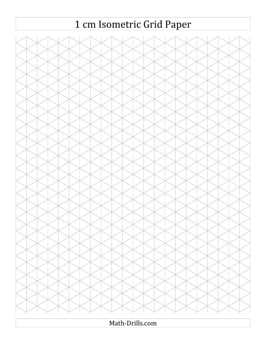 1 cm Isometric Grid Paper (Portrait) (A)