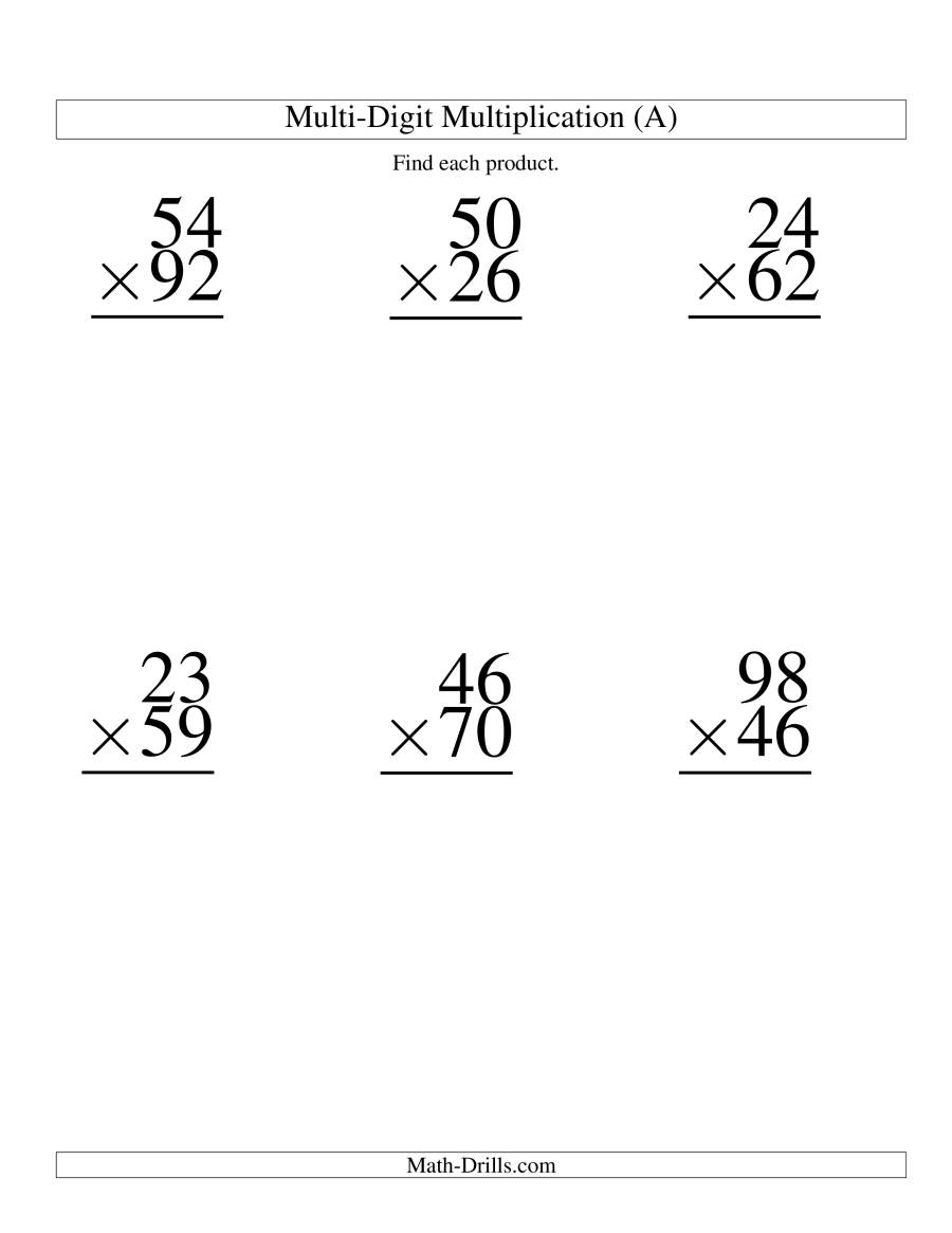 Multiply G Two Digit By Two Digit 6 Per P Ge