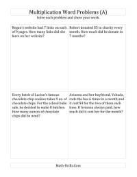 Worksheets Multiplication Word Problems - 2nd grade math ...