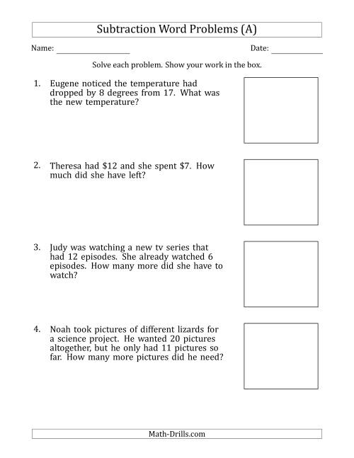 small resolution of Subtraction Word Problems with Subtraction Facts from 5 to 12 (A)