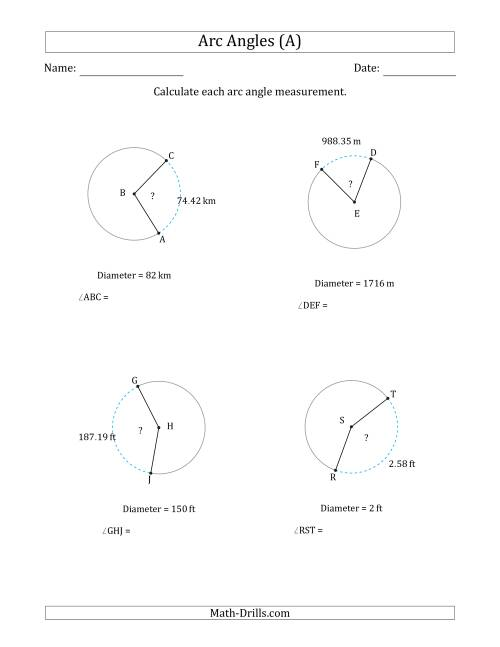 Calculating Circle Arc Angle Measurements from Diameter (A)