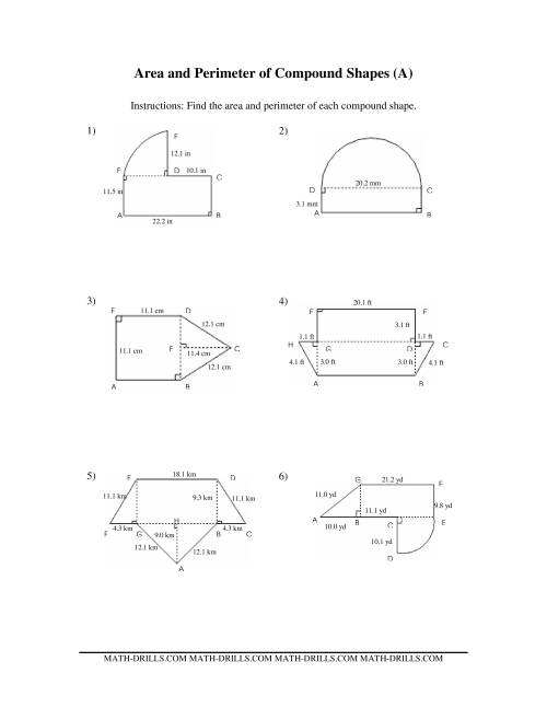 hight resolution of the area and perimeter of compound shapes a math worksheet