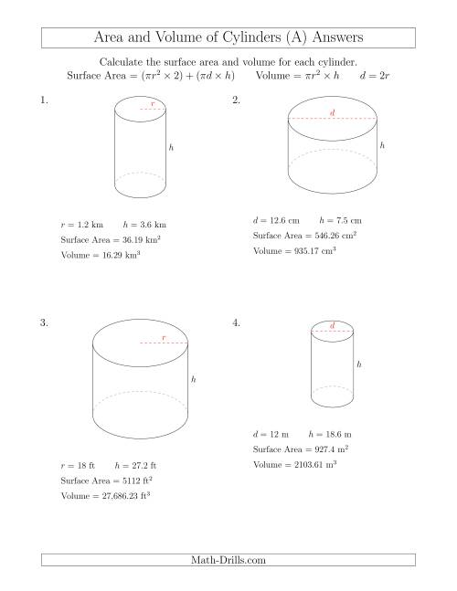 Calculating Surface Area and Volume of Cylinders (A) [ 1165 x 900 Pixel ]