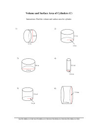 Volume and Surface Area of Cylinders (CC) Measurement