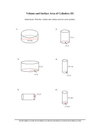 Volume and Surface Area of Cylinders (DD) Measurement