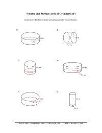 Volume and Surface Area of Cylinders (FF) Measurement