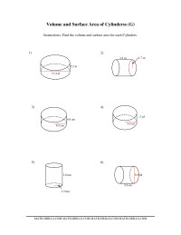 Volume and Surface Area of Cylinders (GG) Measurement