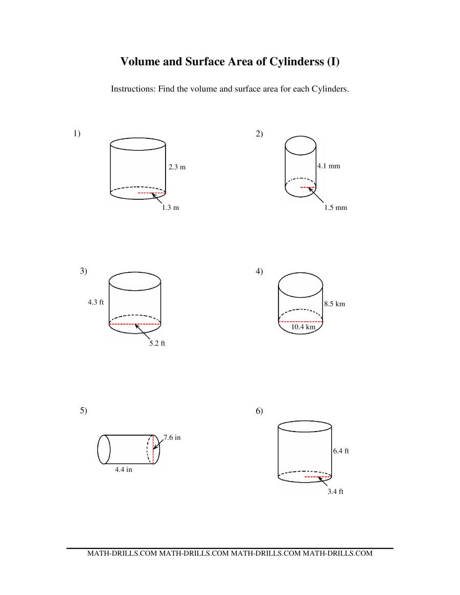Volume and Surface Area of Cylinders (I)