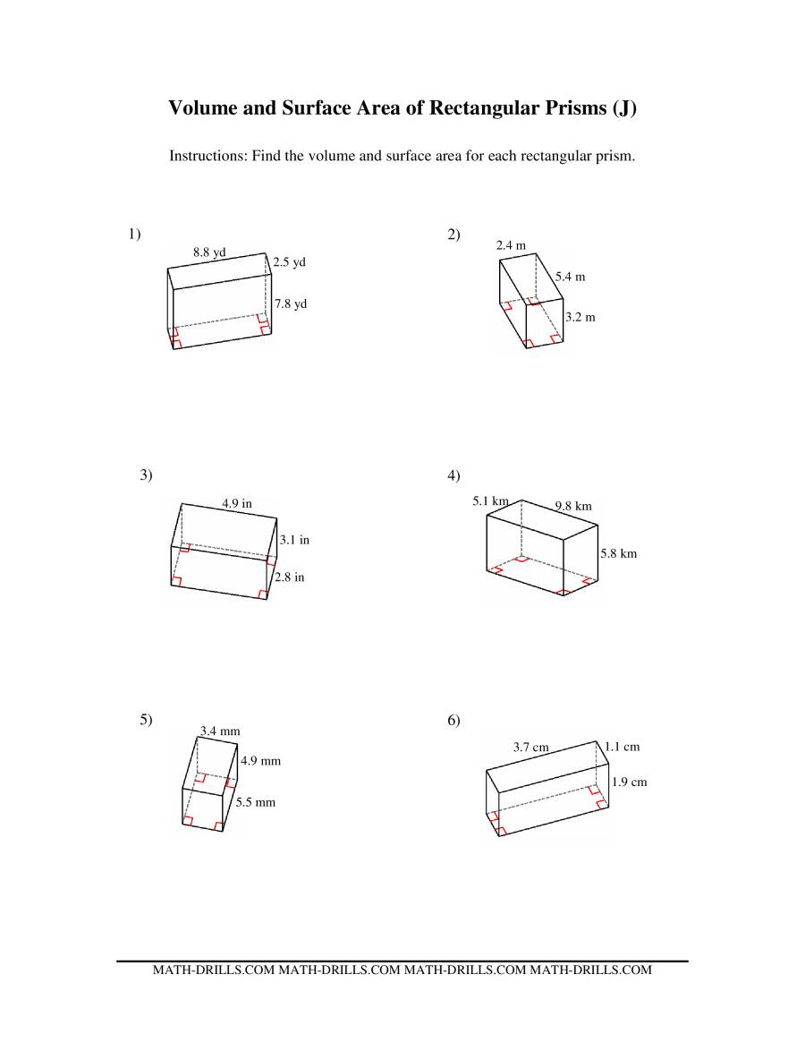 Volume and Surface Area of Rectangular Prisms (J)